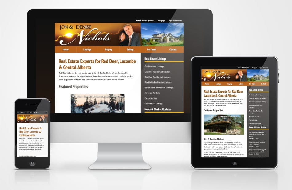 RealEstateinRedDeer.com website on different devices sizes